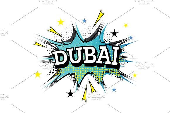 Dubai Comic Text in Pop Art Style.