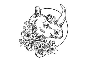 Rhinoceros animal engraving vector