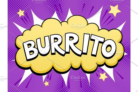Burrito word comic book pop art