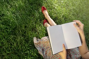 Woman Reading in park, Mockup Book