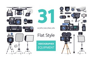 Videographer Equipment in Flat Style