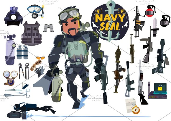 Navy seal soldier with gear  in Illustrations