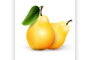 Two yellow pears