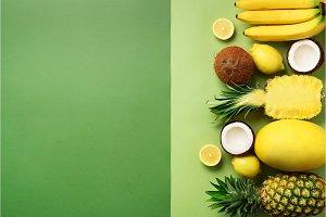 Fresh organic yellow fruits over