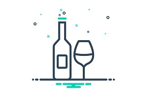 Wine bottle glass icon