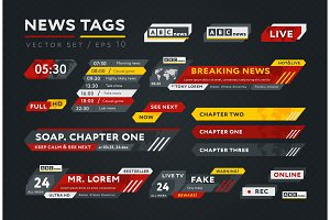 Vector collection of news tags