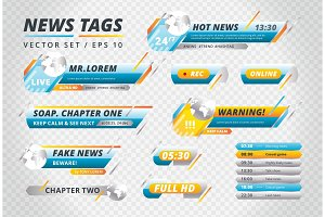 Collection of news vector tags