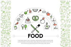 Food line icons composition