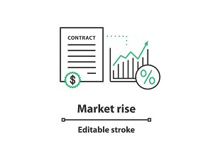 Market growth process concept icon