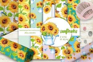 Sunflowers. seamless patterns .