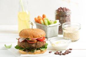 Vegetarian bean and quinoa burger