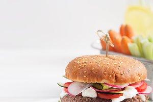 Veggie bean and quinoa burger with
