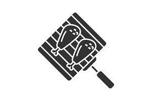 Hand grill with chicken legs icon