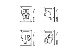Food cutting linear icons set