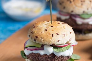 Veggie falafel burgers with fresh