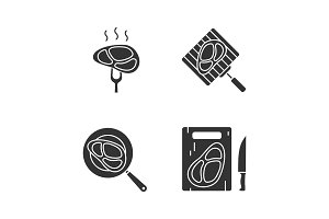 Meat preparation glyph icons set