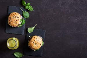 Vegetarian burgers with fresh