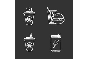 Drinks chalk icons set