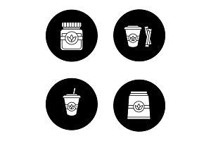 Tea drinks glyph icons set