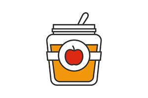 Apple jam jar color icon