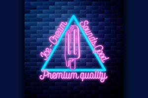 Vintage Ice Cream emblem glowing