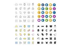 Sleeping accessories icons set