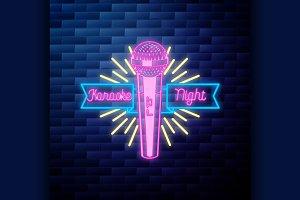Vintage karaoke emblem glowing neon