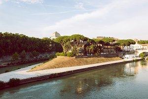 island of tibera river in rome.