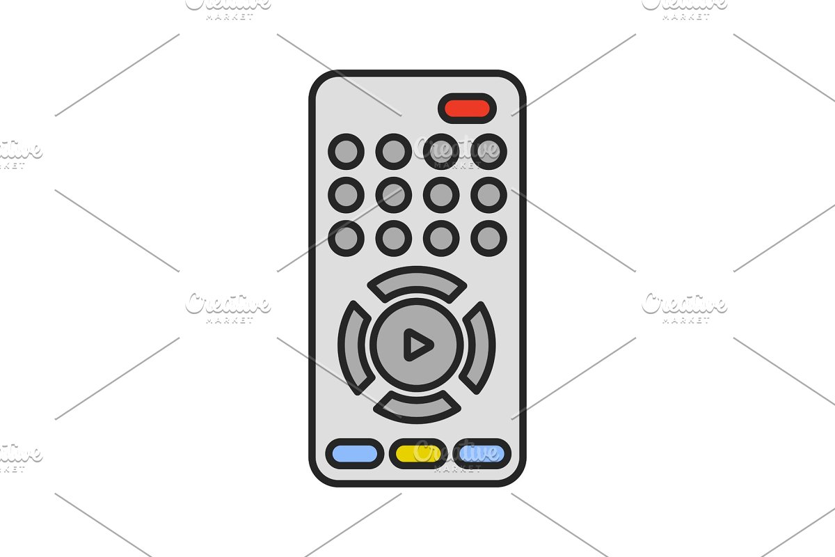TV remote control color icon