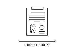 Teeth diagnostic report linear icon