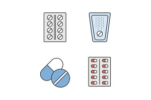 Pills color icons set