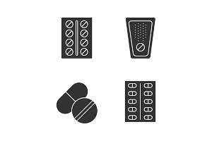 Pills glyph icons set