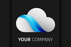 White and Blue cloud Logo design