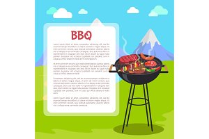 BBQ Poster and Mountains, Vector