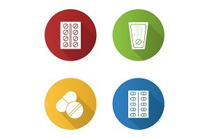 Pills icons set