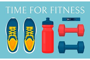 Time for Fitness Blue Poster Vector