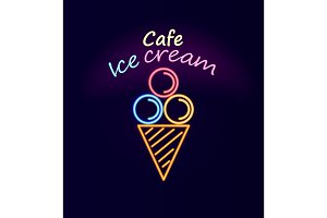 Cafe Ice Cream Neon Signboard Vector