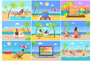 Freelance Workers at Sunny Tropical