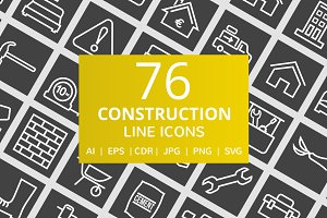 76 Construction Line Inverted Icons