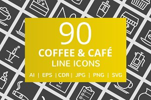 90 Coffee & Cafe Line Inverted Icons