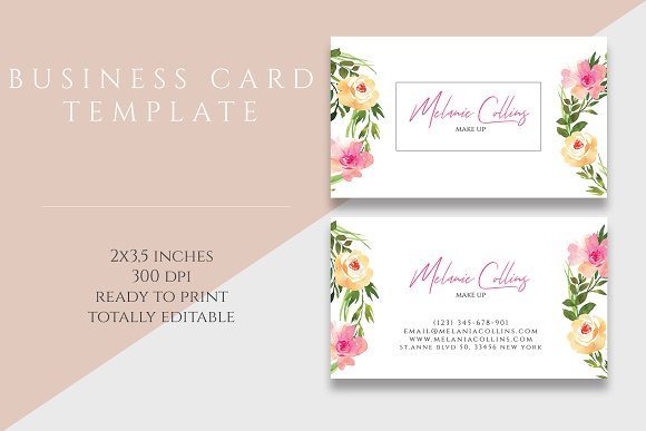 Floral business card template business card templates creative daddy previous next accmission Choice Image