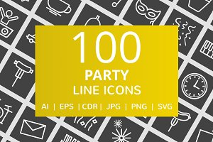 100 Party Line Inverted Icons