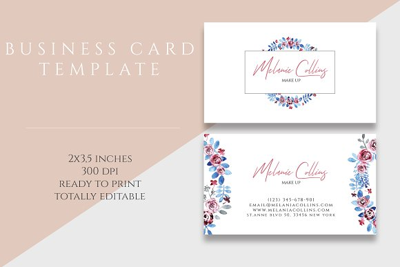 Floral business card template business card templates creative daddy accmission Choice Image