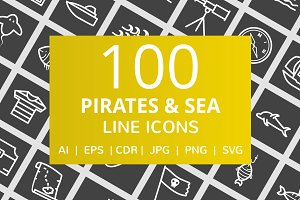 100 Pirate & Sea Line Inverted Icons