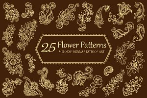 Set Flower patterns - mehndi style