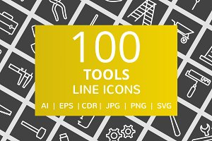 100 Tools Line Inverted Icons