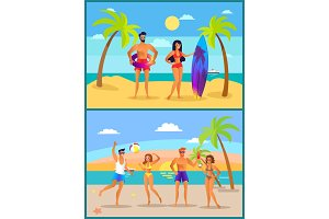 Summer and Active People, Vector
