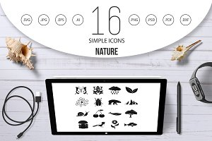 Nature items icons set, simple style