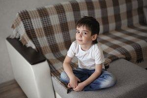 portrait of brunette child boy