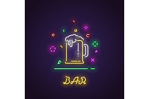 Glass of beer neon sign